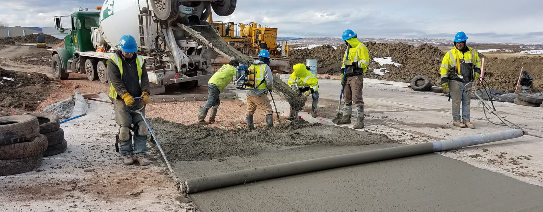 Construction workers at work